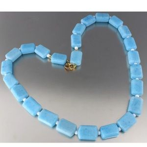 VINTAGE 60S LT BLUE SQUARE GLASS BEAD NECKLACE